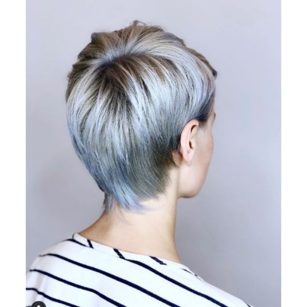 Blue Pixie Cut with Silver Accents haircuts for teenage girls