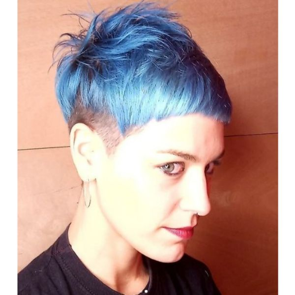 Blue Pixie Haircut with Messy Top