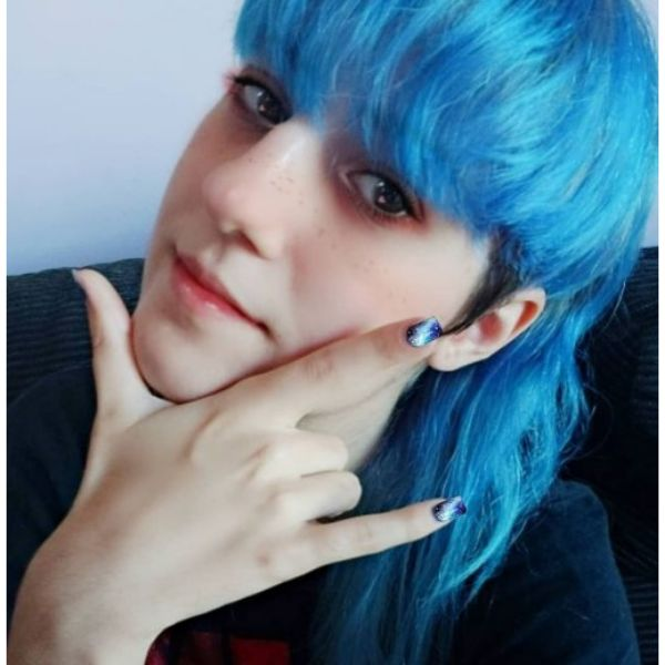 Blue-colored Mullet With Heavy Bangs