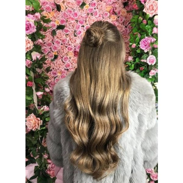 Bronze Colored Half-Updo with Sublte Waves