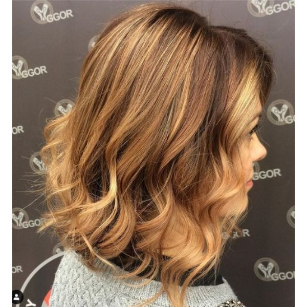 Caramel Highlights For Wavy Bob Hairstyle