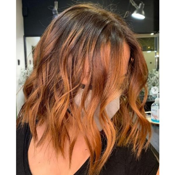 Copper Balayage Wob Haircut For Wavy Hair