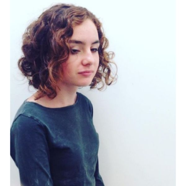 Curly Bob with Side Part Hairstyle