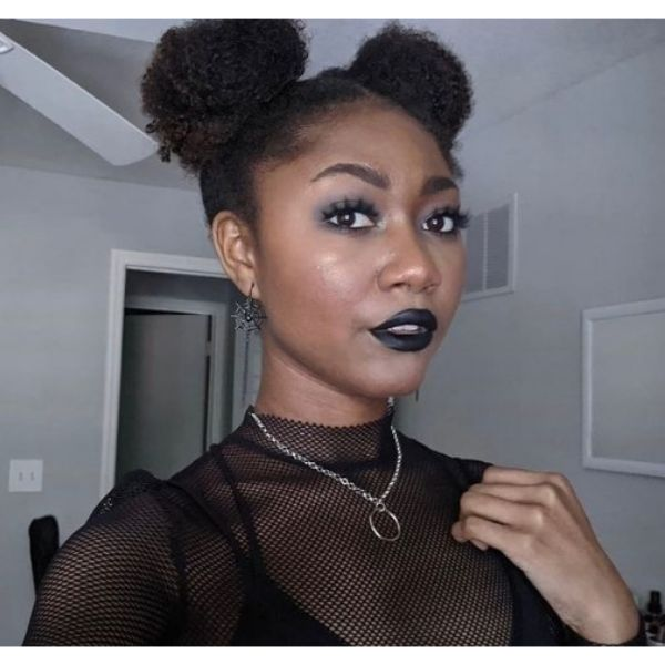 Curly Space Buns Hairstyle haircuts for teenage girls