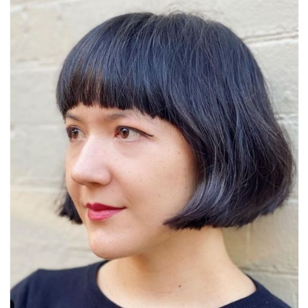 Ear-level French Bob with Straight Bangs