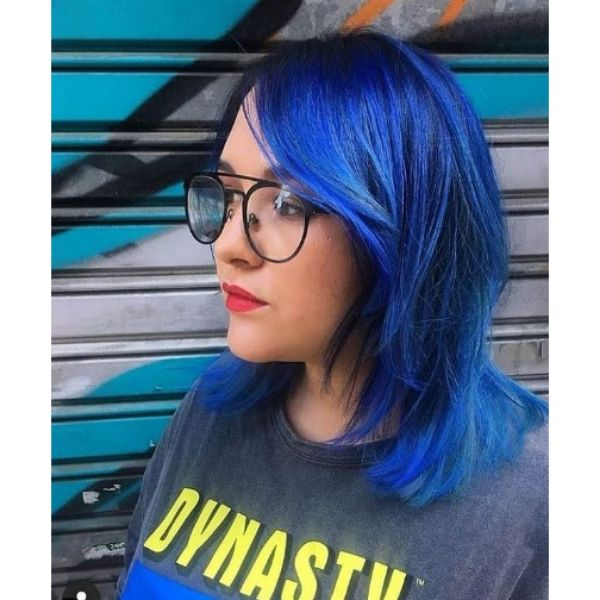 Electric Blue Short Layered Hairstyle