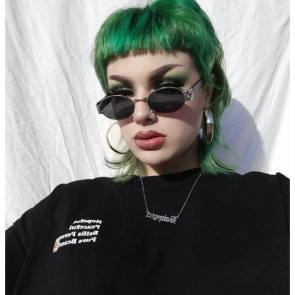 Emerald Green Mullet with Straight Bangs Hairstyle