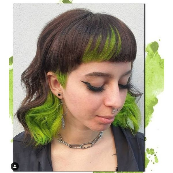 Green Brown Mullet Hairstyle with Curvy Bangs