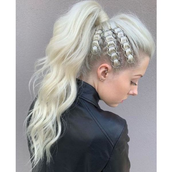 High Ponytail with Side Rings Hairstyle haircuts for teenage girls