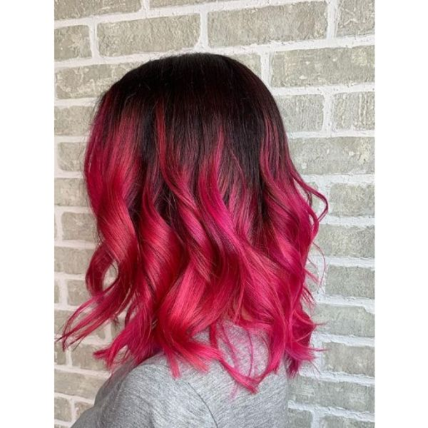 Hot Pink Long Bob with Dark Roots Hairstyle
