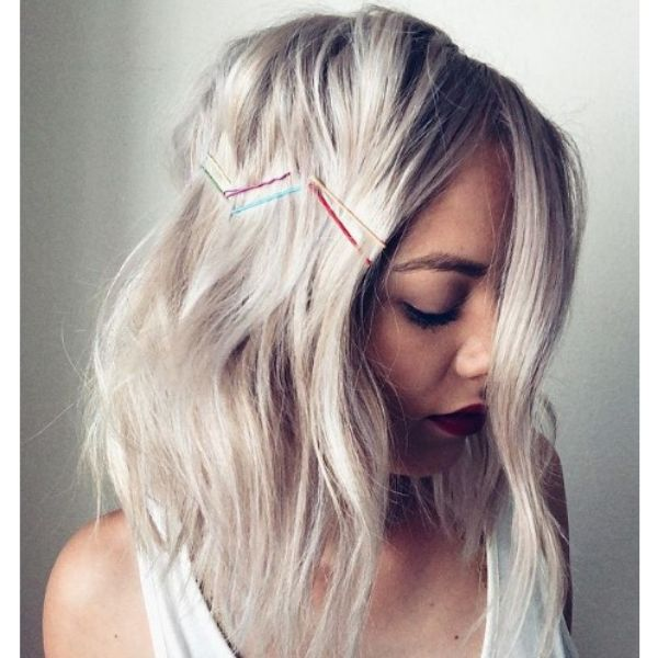 Lob Haircut with Colorful Hairpins