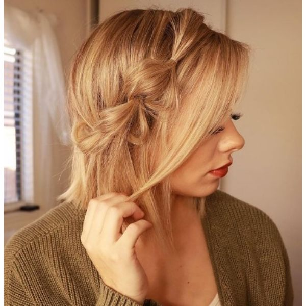 Lob With Accent Braid Hairstyle haircuts for teenage girls