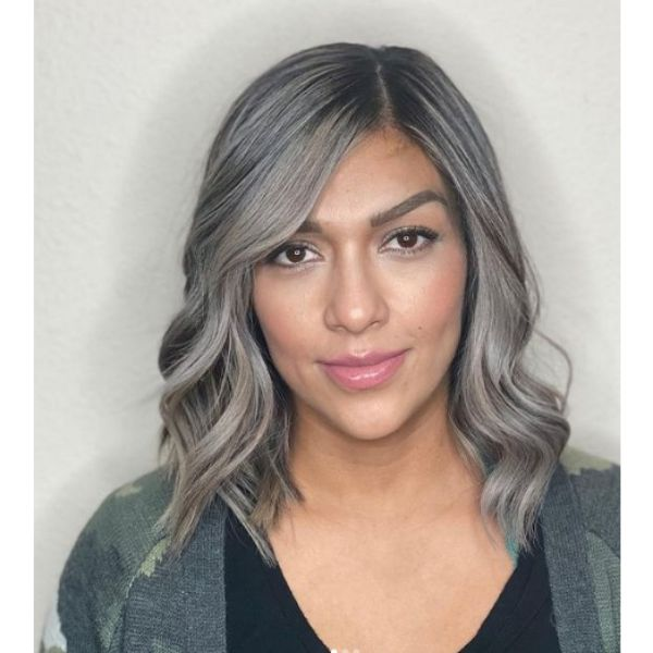 Long Ashy Blonde Bob Hairstyle with Side Part