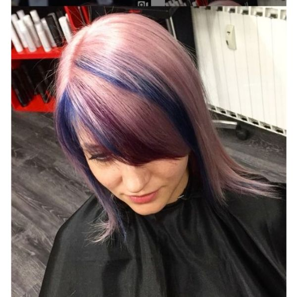 Long Feathered Straight Haircut with Multicolored Highlights