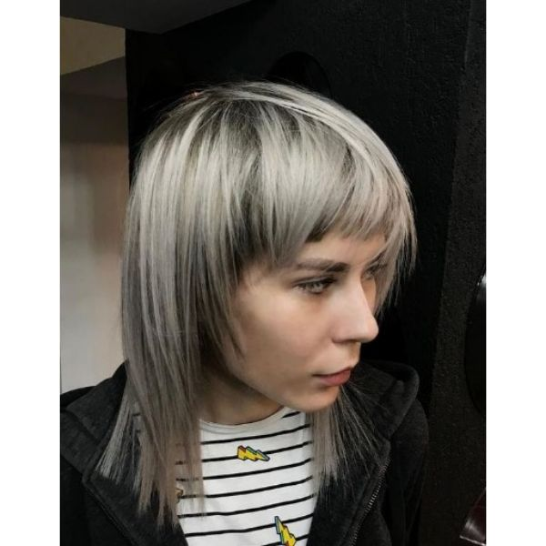 Long Layered Haircut For Blonde Hair with Silver Undertones