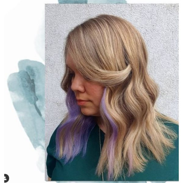 Long Wavy Hairstyle with Purple Highlights