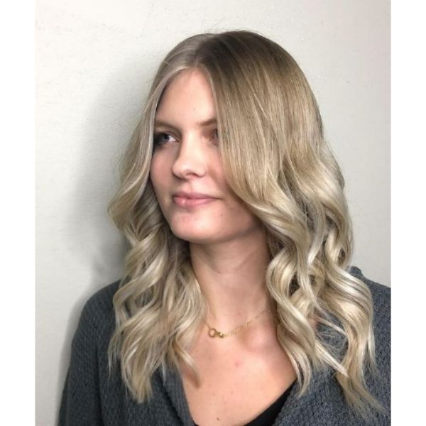 Medium Long Layered Haircut For Blonde Ombre