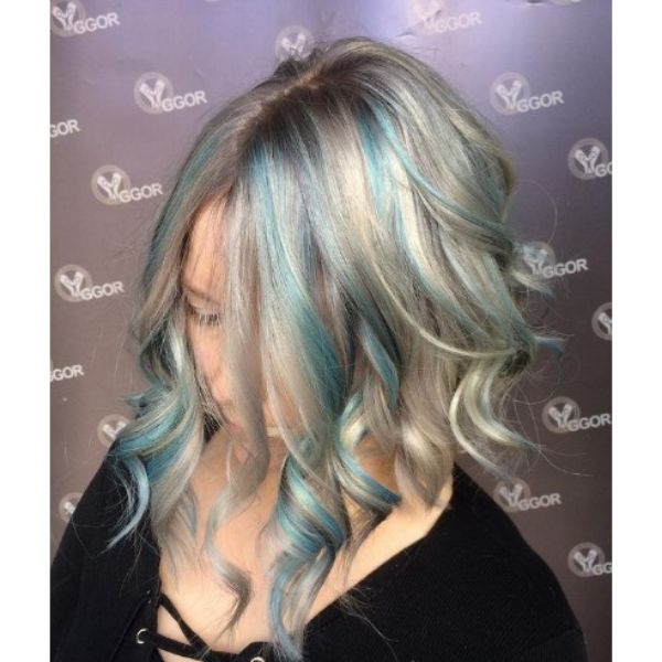 Medium Long Platinum Blonde Hairstyle with Teal Blue Highlights