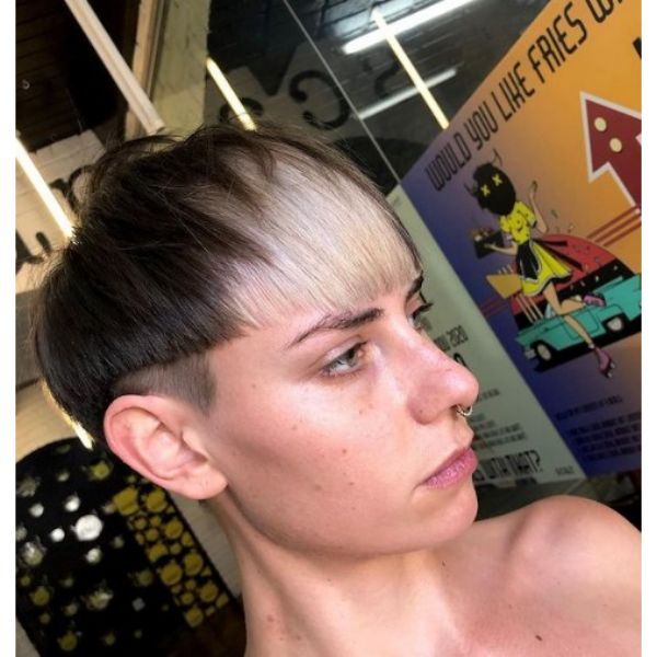 Modern Bowl Cut With Light Blonde Bangs Hairstyle haircuts for teenage girls