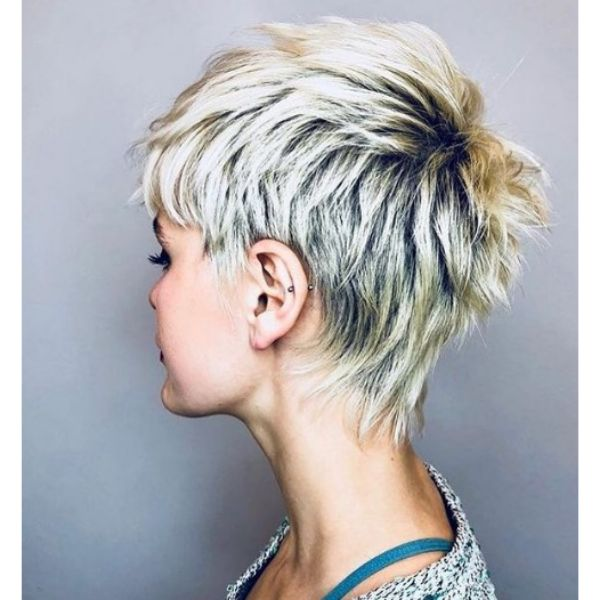 Mullet Pixie Cut with Dark Roots Hairstyle