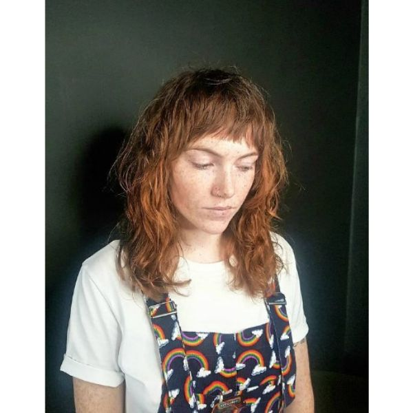 Natural Shag with Straight Bangs Hairstyle For Teenage Girls