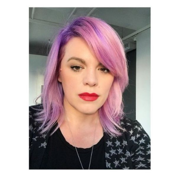 Pastel Pink Haircut For Wavy Hair