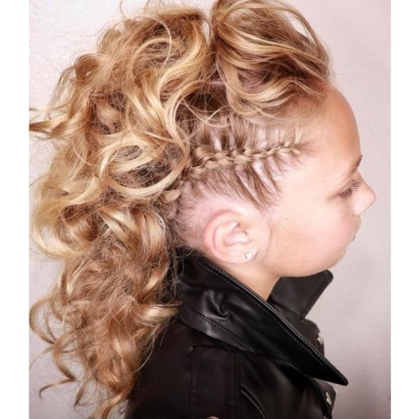 Rock Curly Faux Hawk with Side Braid haircuts for teenage girls