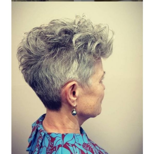 Short Curly Pixie Cut With Silver Gray Hair