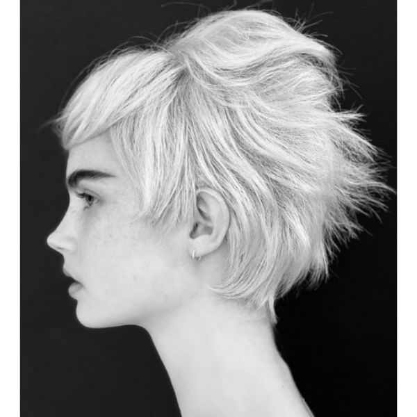 Short Feathered Pixie Cut with Straight Bangs haircuts for teenage girls