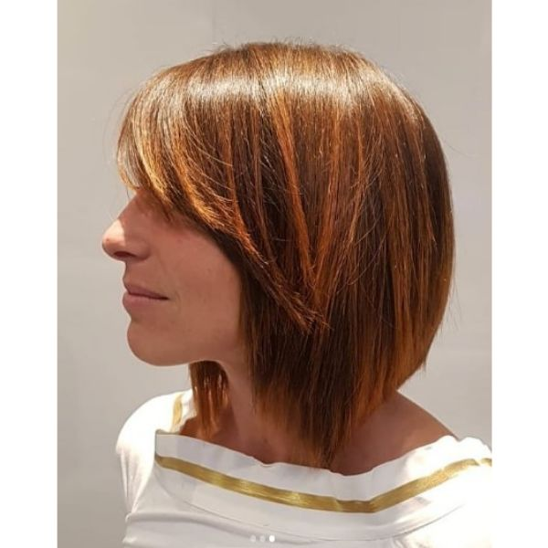 Straight Brown Balayage with Baby Copper Lights for Lob