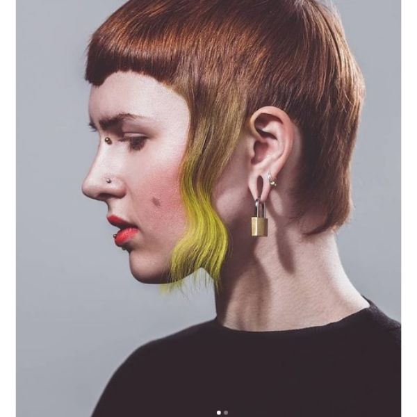 Straight Mullet Haircut with Long Sideburns