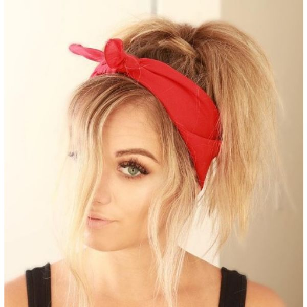 Textured Ponytail with Headscarf haircuts for teenage girls