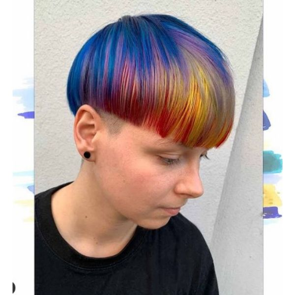 Trippy Bowl Cut with Multicolored Strands haircuts for teenage girls