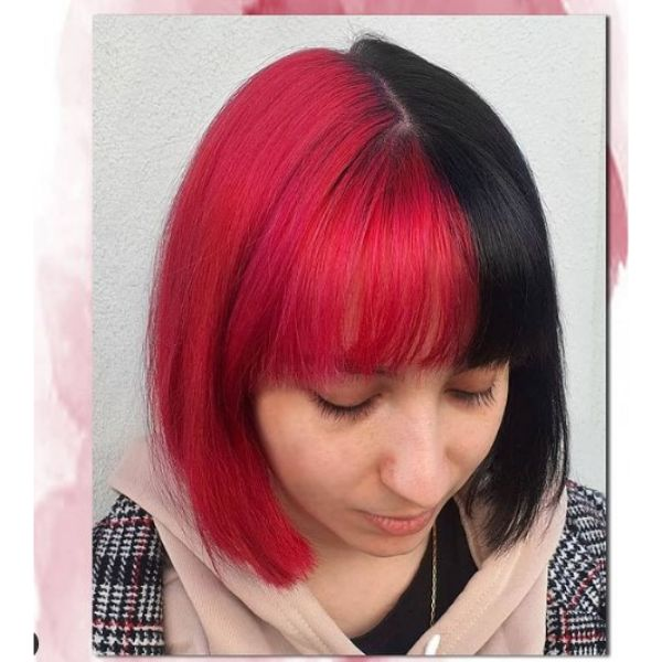 Two-colored Bob with Straight Bangs Hairstyles For Teenage Girls
