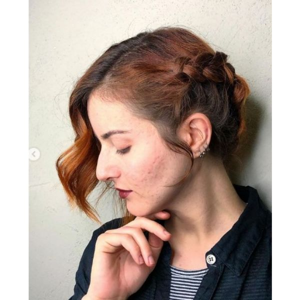Wavy Long Bob with Side Braid Hairstyle