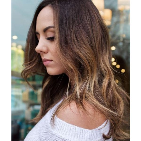 Wavy Soft Balayage with Blonde Tips