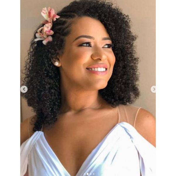 Afro Wedding Hairstyles With Three Side Braids And Natural Flowers