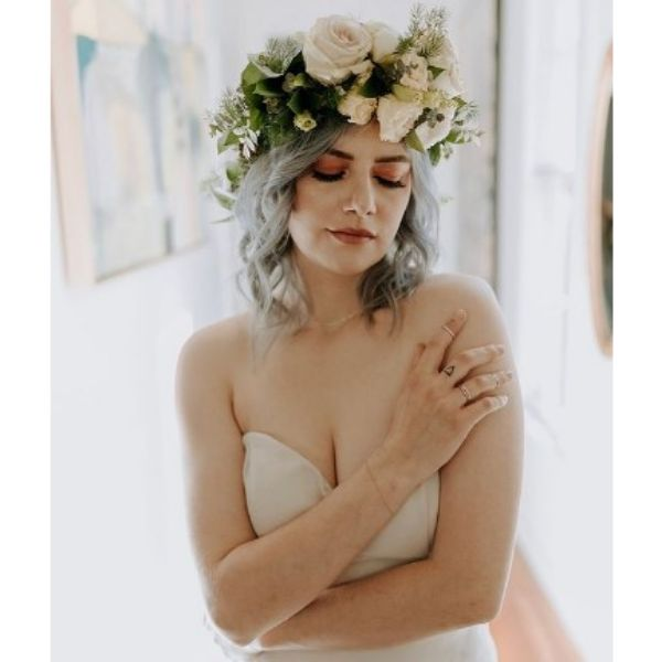 Ashy Blonde Wedding Hairstyles For Medium Hair With Flowers Crown
