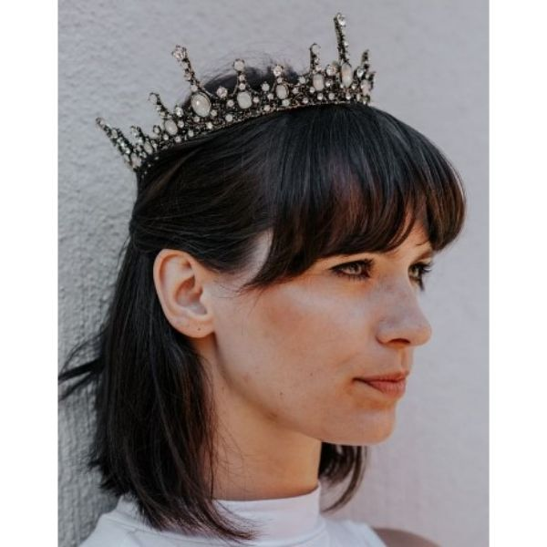 Baroque Wedding Hairstyles For Medium Hair With Statement Queen Crown