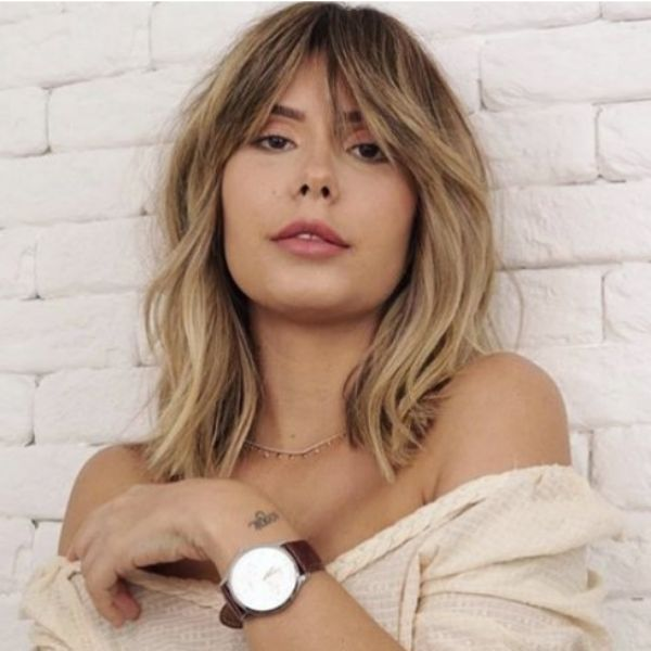 Blonde Medium Long Shag With Bangs For Oval Face With Thin Hair