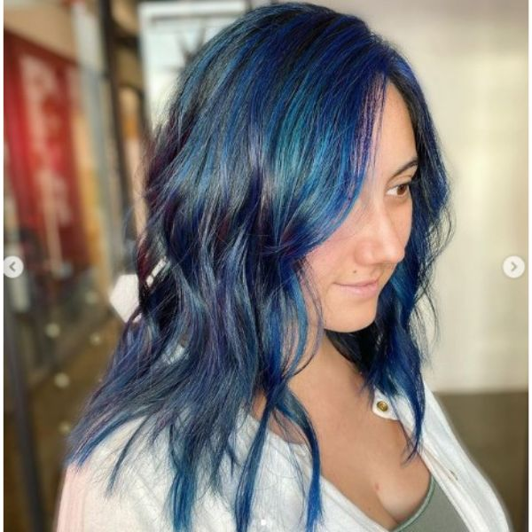 Blue Balayage For Thin Hair With Soft Curls
