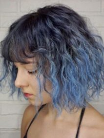Blue Color Melt For Medium Haircut With Straight Bangs