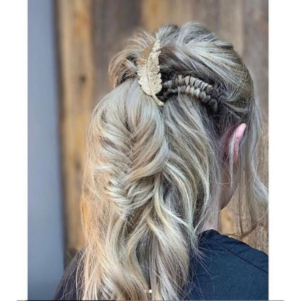 Bohemian Festival Hairstyle With Braids and Golden Accessories For Long Thin Blonde Hair