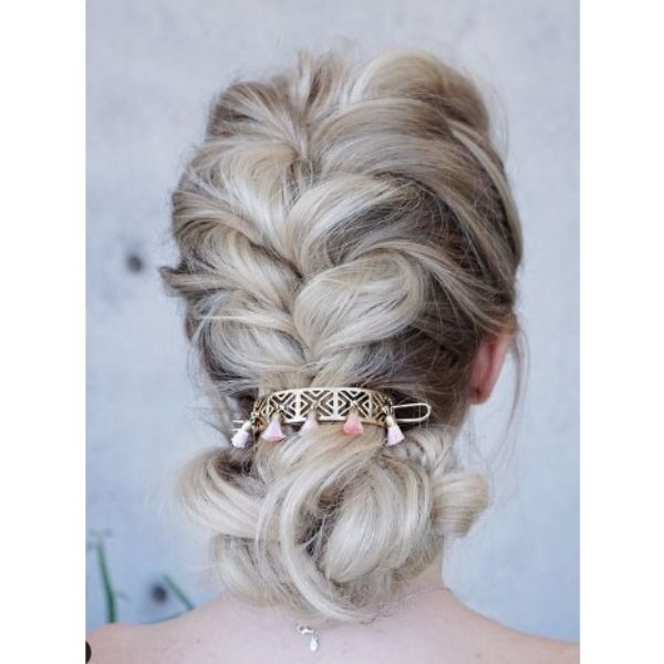 Braided Bun With Gold Colored Accessory Hairstyles For Blonde Hair