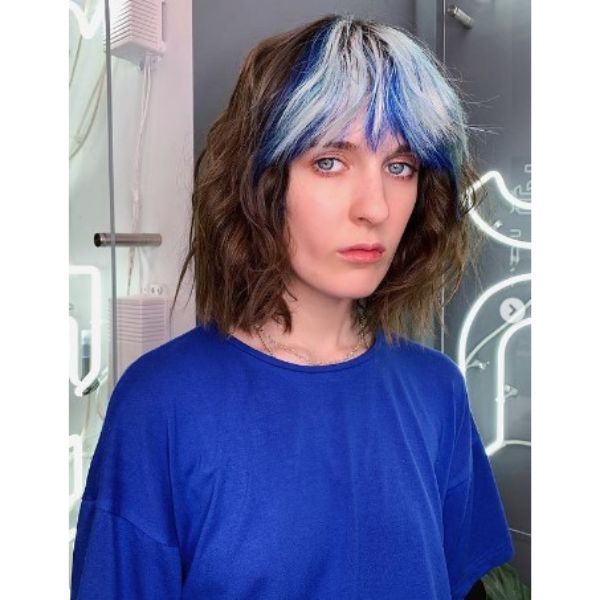 Brown Medium Haircuts With Ice Blue Bangs