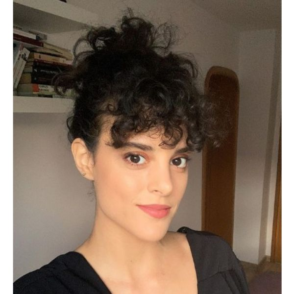 Casual Curly Updo With Bangs For Short Curly Hair