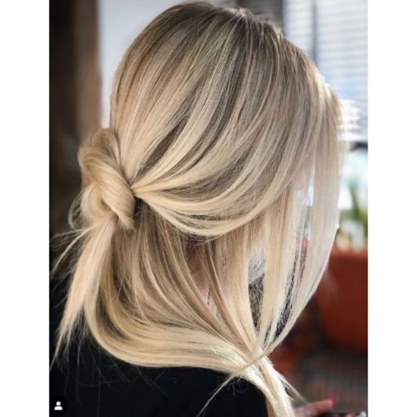 Casual Half Updo Hairstyle For Blonde Hair