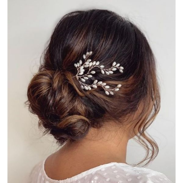 Chocolate Brown Messy Updo With Flower Vine