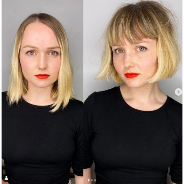 Classic French Bob For Blonde Thin Hair