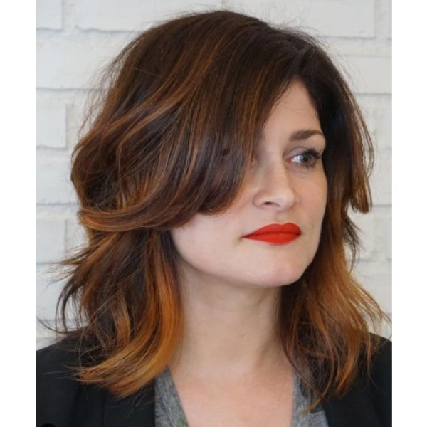 Copper Painted Shag For Wavy Hair with Heavy Bangs